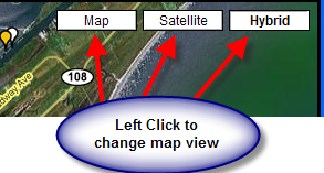 Changing the view from Map, Hybrid, or Satellite